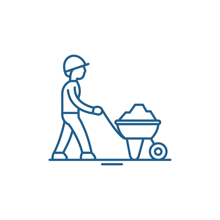 Construction works line concept icon. Construction works flat  vector website sign, outline symbol, illustration. Illusztráció