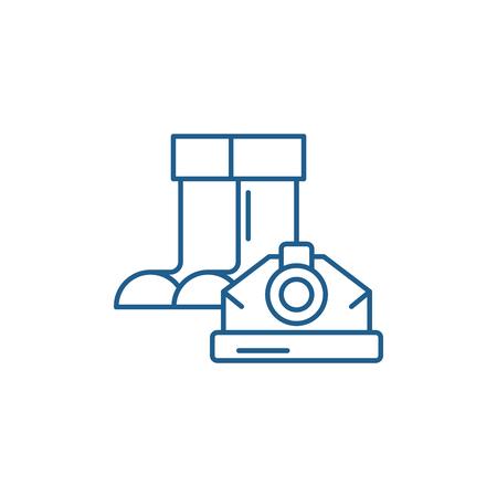 Construction boots and helmet line concept icon. Construction boots and helmet flat  vector website sign, outline symbol, illustration. Illusztráció