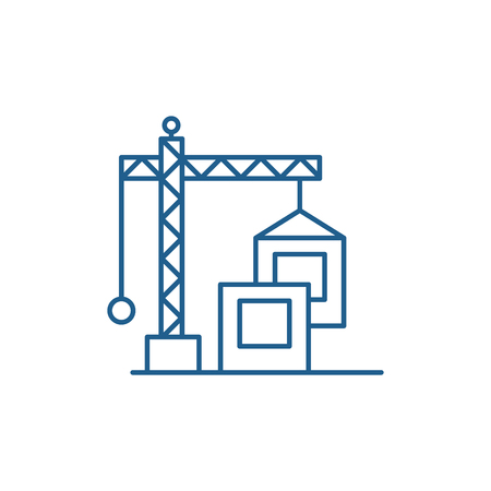 Construction crane line concept icon. Construction crane flat  vector website sign, outline symbol, illustration. Banque d'images - 119917024