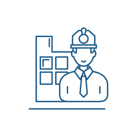 Construction engineer line concept icon. Construction engineer flat  vector website sign, outline symbol, illustration. Ilustracja