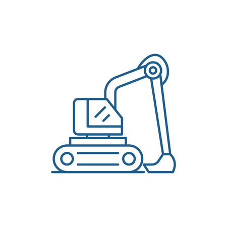 Construction excavator line concept icon. Construction excavator flat  vector website sign, outline symbol, illustration.