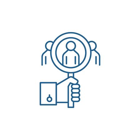 Consumer analysis line concept icon. Consumer analysis flat  vector website sign, outline symbol, illustration. Çizim