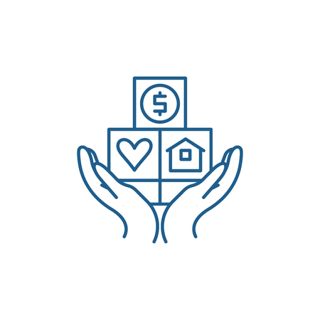 Symbol für das Konzept der Verbraucherversicherung. Verbraucherversicherung flaches Vektor-Website-Zeichen, Umrisssymbol, Illustration. Vektorgrafik