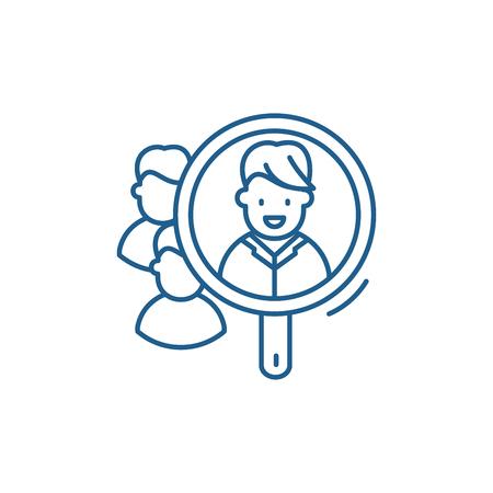 Consumer research line concept icon. Consumer research flat  vector website sign, outline symbol, illustration. Ilustração
