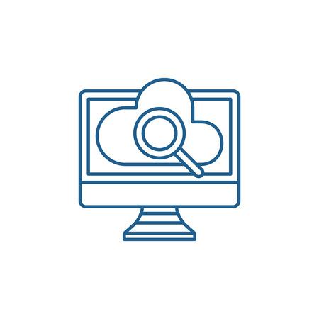 Icono de concepto de línea de búsqueda en línea de computadora. Equipo en línea de búsqueda de sitio web de vector plano de señal, símbolo de contorno, Ilustración. Ilustración de vector