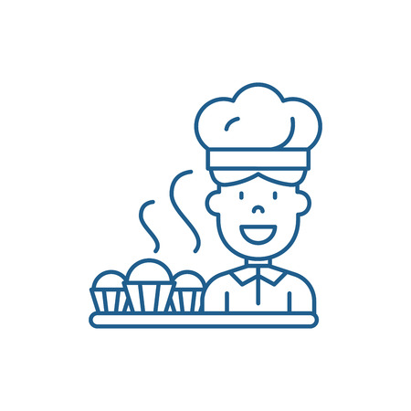 Cook preparing desserts line concept icon. Cook preparing desserts flat  vector website sign, outline symbol, illustration. Stock Illustratie