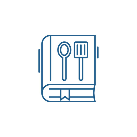 Cookbook line concept icon. Cookbook flat  vector website sign, outline symbol, illustration. Illustration