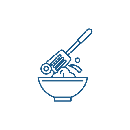 Cooking line concept icon. Cooking flat  vector website sign, outline symbol, illustration.  イラスト・ベクター素材