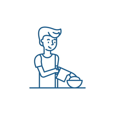 Cooking breakfast line concept icon. Cooking breakfast flat  vector website sign, outline symbol, illustration. Banque d'images - 119916937