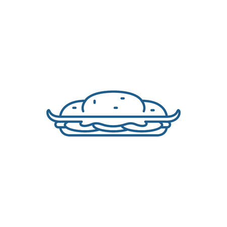 Cooking cake line concept icon. Cooking cake flat  vector website sign, outline symbol, illustration. Banque d'images - 119916939