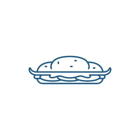 Cooking cake line concept icon. Cooking cake flat  vector website sign, outline symbol, illustration. Illustration