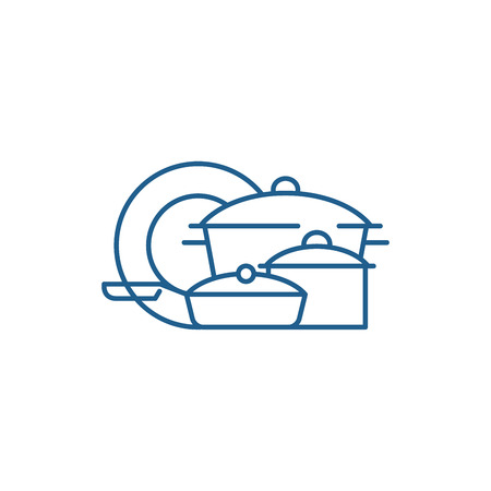 Cookware line concept icon. Cookware flat  vector website sign, outline symbol, illustration.