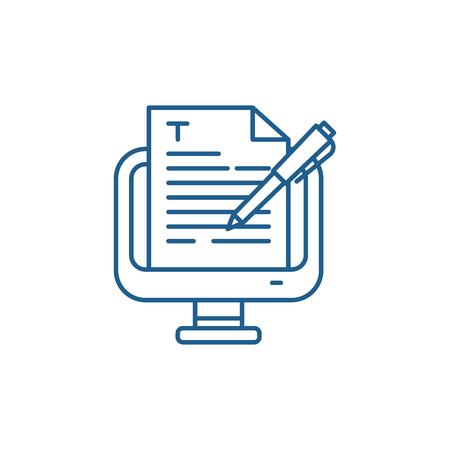 Copywriting line concept icon. Copywriting flat  vector website sign, outline symbol, illustration.