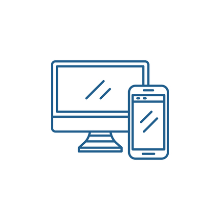 Computer and smartphone line concept icon. Computer and smartphone flat  vector website sign, outline symbol, illustration.