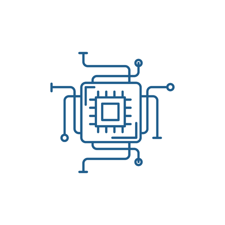 Computer processor line concept icon. Computer processor flat  vector website sign, outline symbol, illustration. Иллюстрация