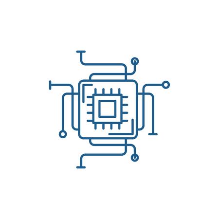 Icono de concepto de línea de procesador de computadora. Procesador de computadora vector plano sitio web de señal, símbolo de contorno, Ilustración.