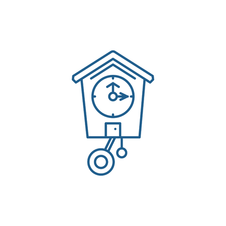 Cuckoo clock line concept icon. Cuckoo clock flat  vector website sign, outline symbol, illustration.