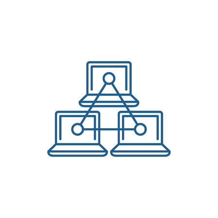 Computer working group line concept icon. Computer working group flat  vector website sign, outline symbol, illustration. Illustration