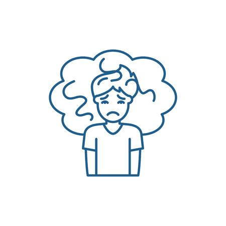 Concern line concept icon. Concern flat  vector website sign, outline symbol, illustration.