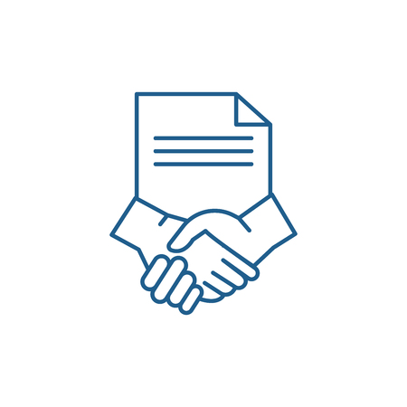 Conclusion of a contract line concept icon. Conclusion of a contract flat  vector website sign, outline symbol, illustration. Stockfoto - 119916865