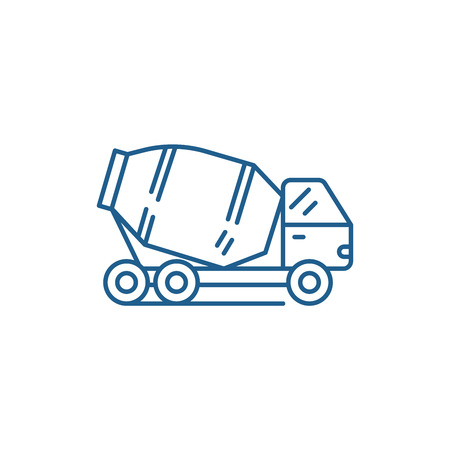 Concrete truck line concept icon. Concrete truck flat vector website sign, outline symbol, illustration.