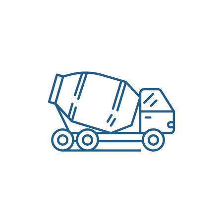 Icono de concepto de línea de camión de hormigón. Camión de hormigón plano vector de señal, símbolo de contorno, Ilustración de sitio web. Ilustración de vector