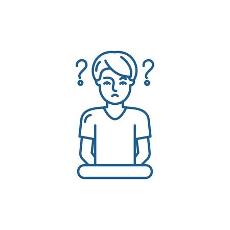 Icône de concept de ligne de confusion. Signe de site Web de vecteur de confusion, symbole du contour, illustration.