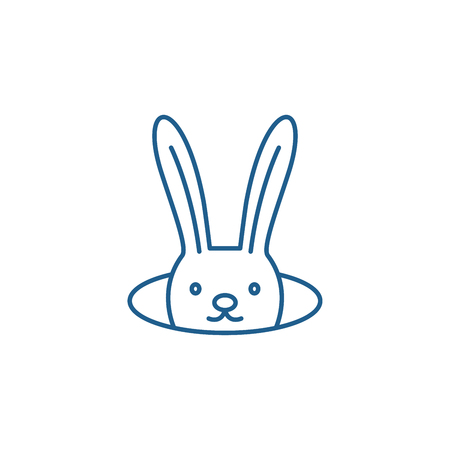 Conjure hare line concept icon. Conjure hare flat  vector website sign, outline symbol, illustration.