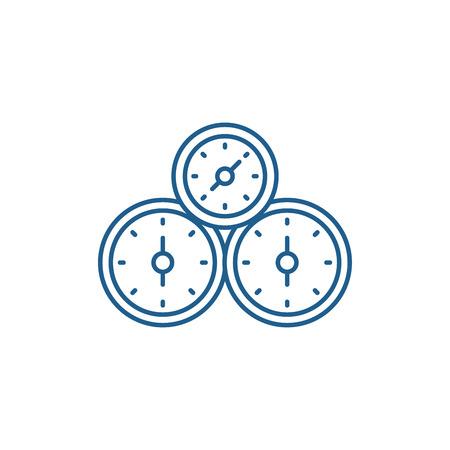 Control panel line concept icon. Control panel flat  vector website sign, outline symbol, illustration. Иллюстрация