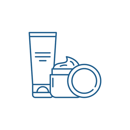 Cosmetic creams line concept icon. Cosmetic creams flat  vector website sign, outline symbol, illustration. Archivio Fotografico - 119916745