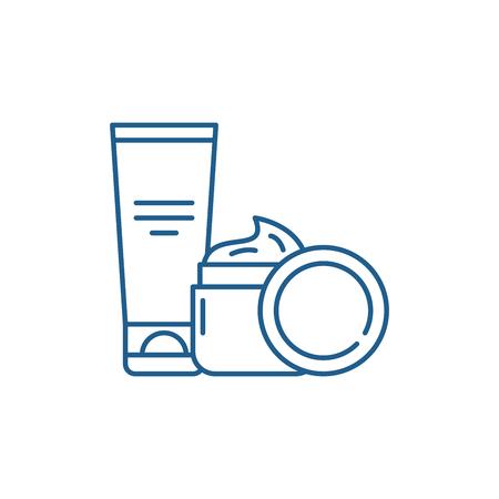 Icono de concepto de línea de cremas cosméticas. Cremas cosméticas sitio web vector plano signo, símbolo de contorno, ilustración.