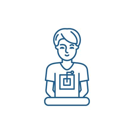 Computer specialist line concept icon. Computer specialist flat  vector website sign, outline symbol, illustration.