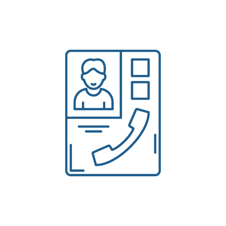 CONTACT BOOK sign line concept icon. CONTACT BOOK sign flat  vector website sign, outline symbol, illustration.