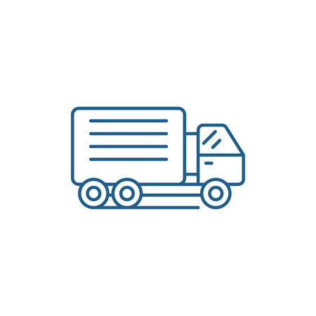 Container ship line concept icon. Container ship flat  vector website sign, outline symbol, illustration. 向量圖像