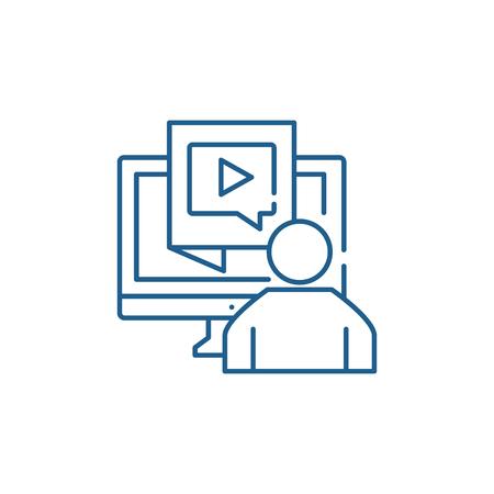 Content production line concept icon. Content production flat  vector website sign, outline symbol, illustration.
