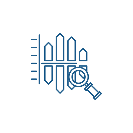 Cost and revenue analysis line concept icon. Cost and revenue analysis flat  vector website sign, outline symbol, illustration. Stock Illustratie
