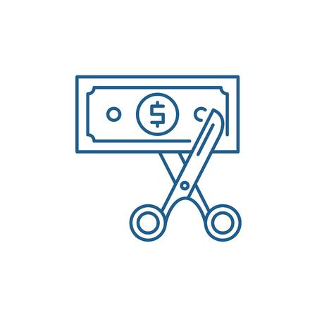 Symbol für das Konzept der Kostenoptimierung. Kostenoptimierung flaches Vektor-Website-Zeichen, Umrisssymbol, Illustration.