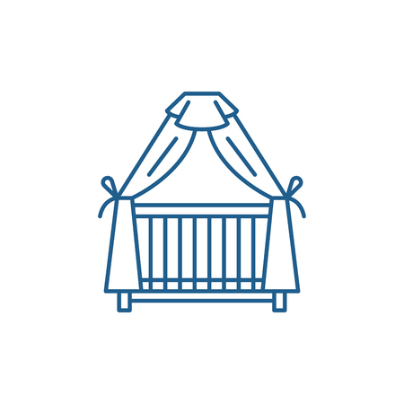 Cot line concept icon. Cot flat  vector website sign, outline symbol, illustration.