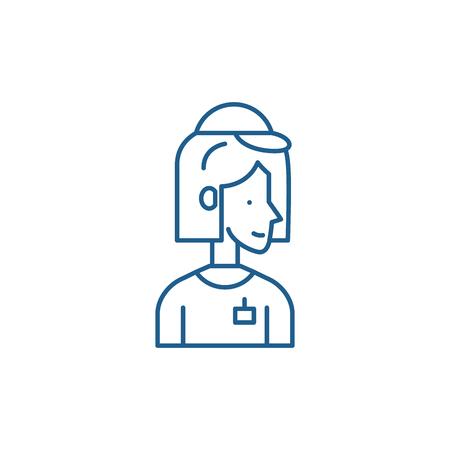 Courier line concept icon. Courier flat  vector website sign, outline symbol, illustration. Ilustracja