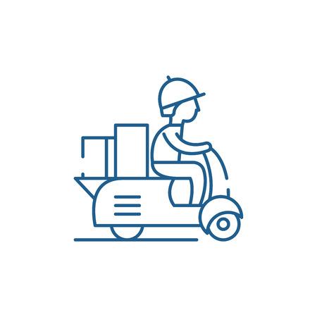 Koerier op een motor scooter lijn concept icoon. Koerier op een motor scooter platte vector website teken, overzichtssymbool, afbeelding.