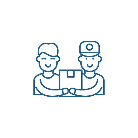 Courier service line concept icon. Courier service flat  vector website sign, outline symbol, illustration.