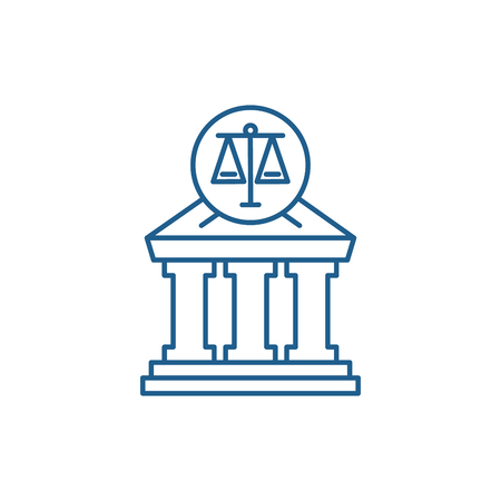 Court line concept icon. Court flat  vector website sign, outline symbol, illustration.