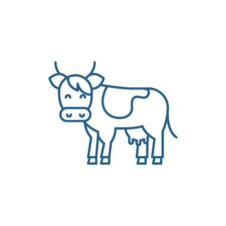 Cow line concept icon. Cow flat  vector website sign, outline symbol, illustration.