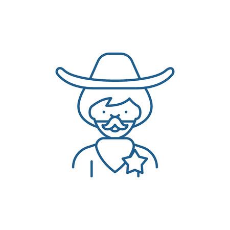 Cowboy line concept icon. Cowboy flat  vector website sign, outline symbol, illustration.