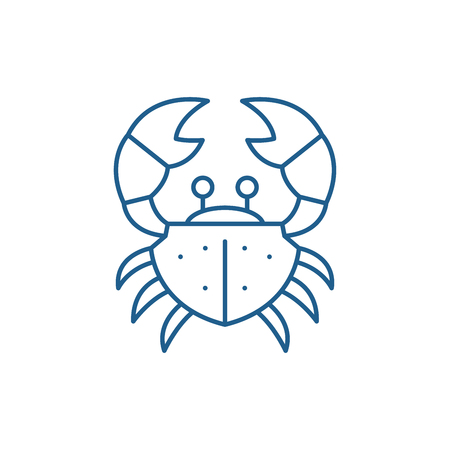 Crab line concept icon. Crab flat  vector website sign, outline symbol, illustration.