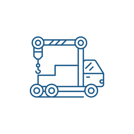 Crane machine line concept icon. Crane machine flat  vector website sign, outline symbol, illustration. Illustration