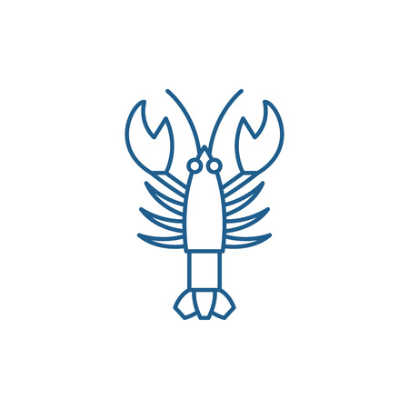 Crayfish line concept icon. Crayfish flat  vector website sign, outline symbol, illustration. Illustration