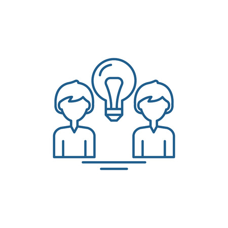 Creative group line concept icon. Creative group flat  vector website sign, outline symbol, illustration. Illustration