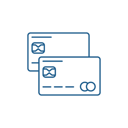 Credit cards line concept icon. Credit cards flat  vector website sign, outline symbol, illustration.
