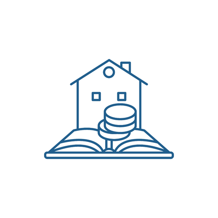 Credit history line concept icon. Credit history flat  vector website sign, outline symbol, illustration.